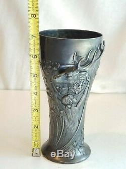 Antique WMF Art Nouveau Stag Elk Lady Nymph Vase Loving Cup Silver plate 7 Rare