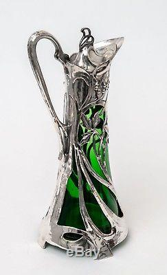Antique Warszawa WMF Silver Plated Art Nouveau Large Green Glass Claret Jug