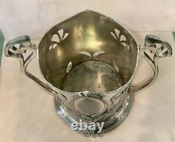 Antique Wmf Silver Plate On Metal Art Nouveau Twin Handle Bottle Holder