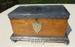 Antique Wooden Light Oak & Silver Plated Tea Caddy Atkin Bros