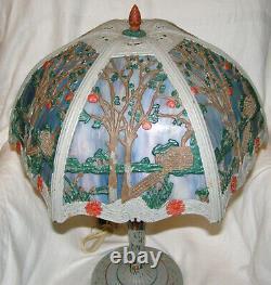 Antique Working 1920s Painted Scenic Slag Glass Table Lamp Blue+lavender Slag