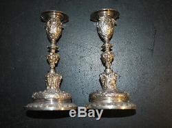Antique candlesticks by Elkington & Co silver plate, matching numbers