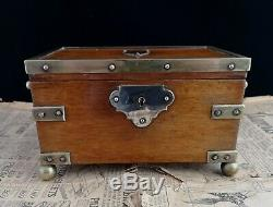 Antique oak and silver plated jewellery box, casket