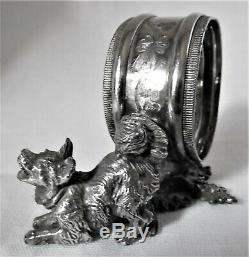 Antique silver plate figural Pomeranian dog napkin ring c 1900 U. S