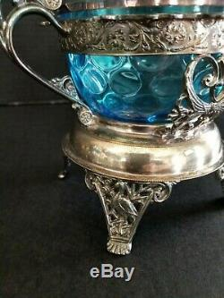 Antique silver plate sugar spooners figural feet blue glass sugar bowls Rogers S