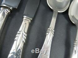 Art Deco Danish Silver Plate Freya 6 person cutlery set c1930 51 pieces