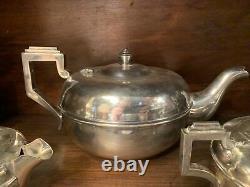 Art Deco English Empire Silver Tea Service