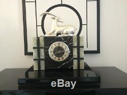 Art Deco marble clock with silver plated gazelle