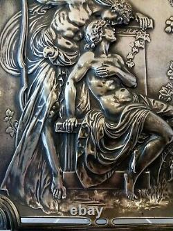 Art Nouveau Amor and Psyche, Silver Plated Metal Picture