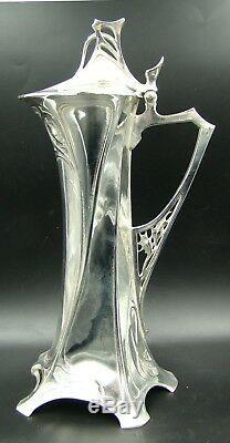 Art Nouveau Germany WMF Huge Pitcher Silver Plate Holly Claret Jug
