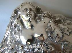 Art Nouveau Jenning Bros JB Silver Plate Nude Maiden Large Jewelry Box ca 1890