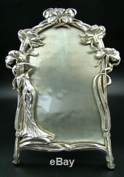 Art Nouveau Jugendstil Silver Plated Lady Maiden JB Jennings Bros Picture Frame