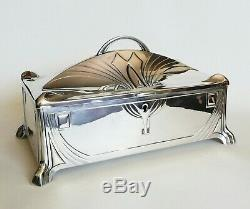 Art Nouveau Jugendstil WMF Silver Plate Jewelry Box Casket