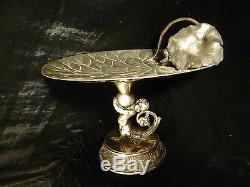 Art Nouveau Silver Plated Lily Pad Calling Card Tray Cherub Figural Stem 1905