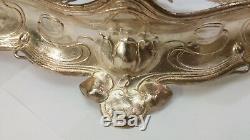 Art Nouveau WMF centerpiece missing glass silver plated flower jugendstil