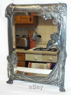 Art Nouveau WMF silver plate pewter Echo mirror