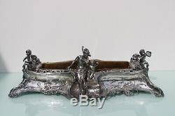 Art Nouveau large silver plated lady cherub centerpiece by Argentor or WMF