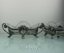 Art Nouveau pair of floral silver plated centerpieces by WMF