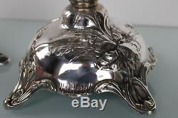 Art Nouveau silver plated pair of floral candle holders by WMF