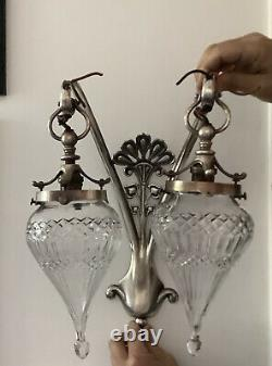 Arts & Crafts Nouveau Silver Plated Peacock Feather Wall Lamps Glass Shades