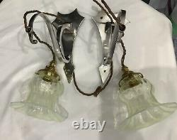 Arts & crafts Nouveau Pair Silver Plated Wall Lights With Opalescent Shades GEC
