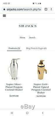 Authentic 1936 Silver Plated Figural Penguin Cocktail Shaker Napier Company