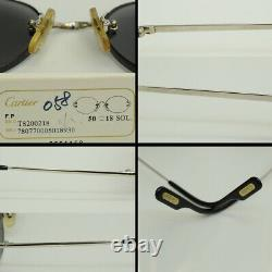 Authentic Cartier Rimless Scala 50 18 130 C Decor Gray SP Sunglasses T8200218