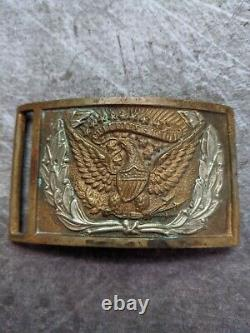 Authentic Civil War Eagle Officers sword belt plate with silver wreath