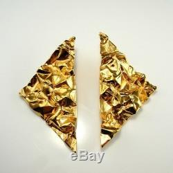 BIG Gold Plated Triangle Earrings 80s 1980s Statement Geometric Huge 925 Silver