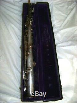 BUESCHER Silver /Gold Plated Bb SOPRANO SAXOPHONE -orig. Plating, original case
