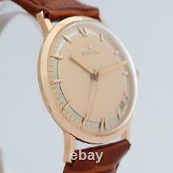 Beautiful Zenith Gold Plated Factory Original Dial Manual Wind Vintage Watch