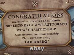 Bill Goldberg Autograph Championship Plate 2017 Topps Legends WWE /50 Silver BGS