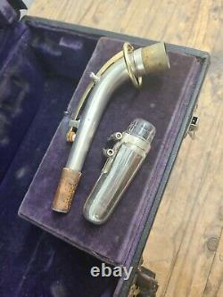 Buescher True Tone Low Pitch Saxophone Silver, Gold #163764 c1920 Original Case