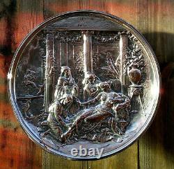 C1876 Elkington & Co Silver Plated Wall Plaque Leonard Morel Ladeuil 13.5