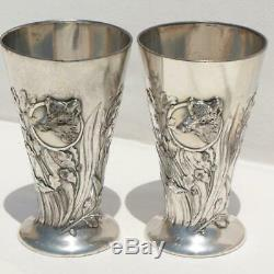 C1900s GERMAN WMF ART NOUVEAU SILVER PLATED HUNTING WILD BOAR PAIR 2 STIRRUP CUP