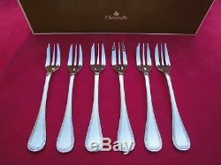 CHRISTOFLE Malmaison 6 cake forks 16 cm long. Silver plate