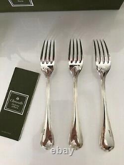 CHRISTOFLE Spatour 6 dessert forks 17 cm long. Silver plate