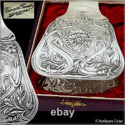Cailar Bayard French Silver Asparagus Sandwich Tongs, Art Nouveau, Original Box