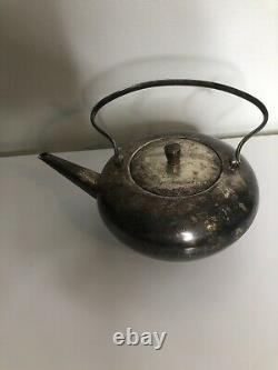 Carl Deffner Silver Plated Art Deco Tea Pot Tea Kettle, 1930's