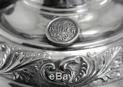 Charles Parker Silver Plate Oil Lamp Cherub Raising Font Banquet Antique