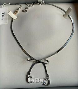 Christian Dior Silver Bow Necklace And Bracelet Used In Original Box