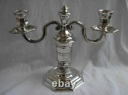 Christofle For Gallia, Pair Of French Art Deco Silverplated Candle Holders