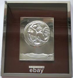 Dali Salvador Bas Relief En Argent 925/1000 Signé 1977 Signed Silver Plate D. 500