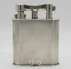 Dunhill Lighter, Silver Plated Engine Turned, circa 1940 Original Box