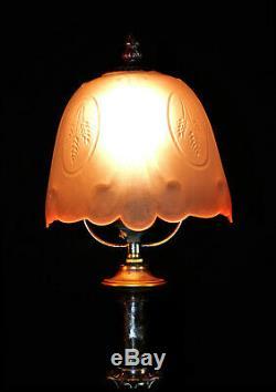 Early original Victorian C-1890s classic design silver plated copper desk lamp