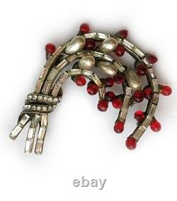 Eisenberg Original Rare Floral Spray Brooch Red Glass Drops, Baguette Crystals