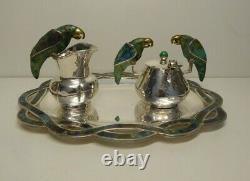 Emilia Los Castillo Taxco Mexico Silverplated Sugar Creamer Tray Vintage Parrots