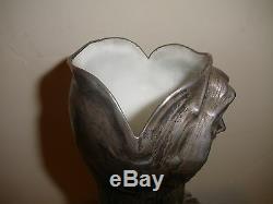 Exquisite Antique Austrian Art Nouveau Silver Plate Vase Amphora Bacchus Woman