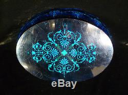 Exquisite Cut Glass & Enameled Centerpiece Bowl Silver Plated Cherub Stand 1880