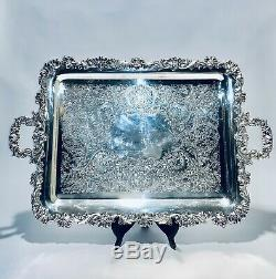 Fabulous Rare Original Antique Rectangular Silver Plated Tray By Sheffield
